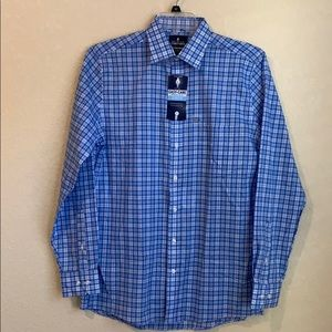 NWT Stafford Blue White Plaid Button Down Shirt